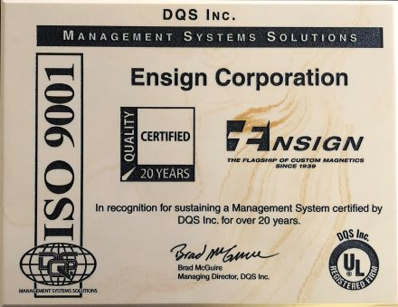 Ensign ISO9001 Award