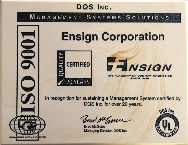 Ensign ISO9001 Award
